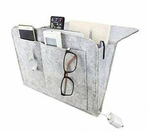 2Pk Gray Bedside Caddy, Felt Hanging Bedside Pocket, Bedside Storage Organizer