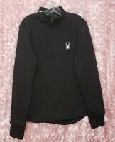 NWT Mens SPYDER 1/4 Zip Pullover Long Sleeve Black Polyester Fleece Size M $120
