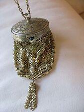 Antique Art Nouveau Deco Gold T Blue Jewel Round Frame Chain Mesh Mail Purse