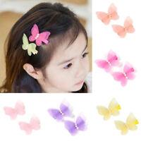 1 Pair Kids Baby Girls Chiffon Butterfly Hair Pin Headwear Hair Clips Gift