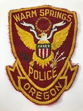 Warm Springs Police Oregon Vintage Patch Law Enforcement Uniform Sew-On