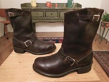 Vtg FRYE Men's Dk. Brown Leather 2 Buckle Engineer Boots 8.5M Made in USA XLNT!