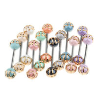 Lot 36pcs Mix color Barbell Stud Tongue Ring Ball Bars Body Piercing Jewelry