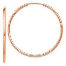 1.5mm Endless Hoop Earrings in Genuine 14k Rose Gold - 14 to 38mm
