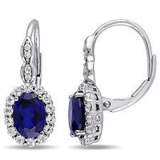 Sky Blue Topaz & Diamond Dangle Leverback Earrings 14k White Gold