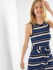 NEW - Misses GAP Gap Blue Stripe Belted Wrap Cami Dress - Size Large