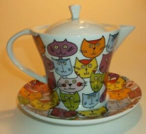 FUN CAT PORCELAIN ONE PERSON TEAPOT WITH PLATE- UNUSED AND SO SO CUTE!