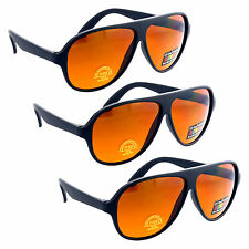 3 Pair/Pack BLUE BLOCKER HD Amber Lens Aviator Sunglasses