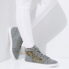 New River Island Grey Embellished Hi Top Lace Up Trainers Size 9 EUR 42