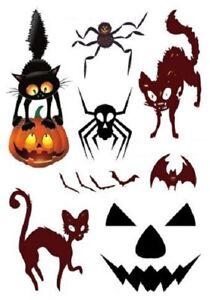 Halloween Tattoos Cat Bat Spider Pumpkin Kids Adults