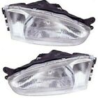 Headlight Set For 97-2002 Mitsubishi Mirage Left and Right With Bulb 2Pc