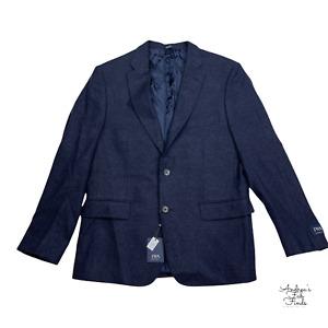 JWN NWT Nordstrom Navy Blue Basketweave Wool Cashmere Jacket Coat Blazer 42R