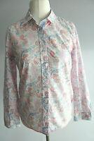 Walbusch klassische Bluse Gr.38 weiß-rosa-blau Paisley gemustert