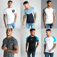 GYM KING Mens High Build Logo Retro Stripe Designer Casual T-Shirt Tee Top New