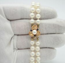 VINTAGE SOUTH SEA PEARL DOUBLE STRAND BRACELET,14K YELLOW GOLD CLASP,SAPPHIRES