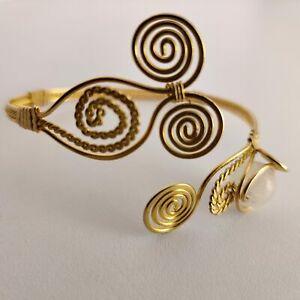 103 Barcelet Bronze Gold Plated Pink Quartz Adjustable 35 A
