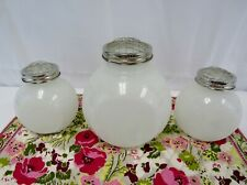 NEW Set of 3 White Glass Flower Jar with Metal Wire Frog Lid