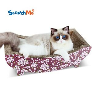 ScratchMe Cat Scratching Post Lounge Relaxing Bed Cat Scratcher Cardboard