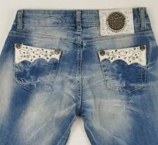JUST CAVALLI Womens Low Rise Jeans Decorative Appliques Rhinestones Size 30