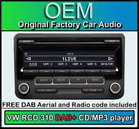 VW RCD 310 DAB+ radio, VW Caddy DAB+ CD player, digital radio with stereo code