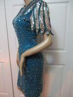 Vintage LAURENCE KAZAR Green Teal SILK Silver Sequin Beaded COCKTAIL Dress M EUC