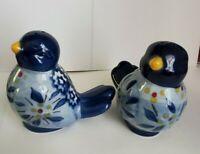 "Hand Painted Blue Birds New Salt & Pepper Shakers Porcelain 3"" Tall"