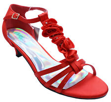 WOMENS RED LOW-HEEL T-BAR OPEN-TOE STRAPPY EVENING SANDALS SATIN SHOES SIZES 3-8