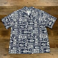 KYS Hawaiian Mens Shirt Blue Tapa Fish Hibiscus Cotton Blend All Over Print