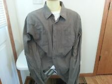 Horny Toad brown, orange, white stripe long sleeve button down - mens Xl