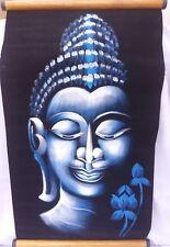Buda pintura Azul Sobre Terciopelo Negro Plata Brillo Madera Colgar Pared Arte VA209B
