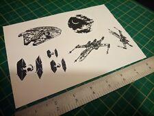 Star Wars Xwing Deathstar Tie fighter Millenium falcon stickers
