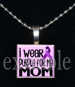 """I Wear Purple Ribbon for my MOM"" ALZHEIMERS Awareness Scrabble Tile Necklace"