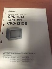 Sony CPD-121J CPD-121 CPD-121CE Operation and Maintenance Manual CPD 121 J CE