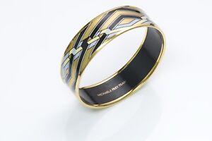 Michaela Frey Wille 24k Gold Plated Enamel Bangle Bracelet