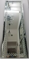 Sparkly Floating Silver Crystal Tall Dressing Full Length Wall Mirror 120x40cm