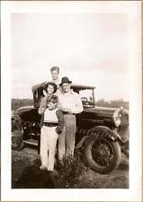 Family Group Teen Boys Girl Pose with Ford 1928-1929 Model A/AR Roadster Photo
