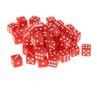 50 x High Quality Six Sided Gem Dice For RPG Dungeons Dragons Games,Red