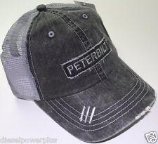 peterbilt denim mesh distressed semi diesel truck hat cap pete ball vented gear
