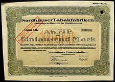 Nordhausen Harz Thüringen Nordhäuser Tabakfabriken Aktie 1000 Mark 1921
