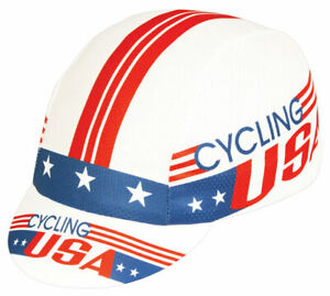 Pace Sportswear Cycling USA Hex Tex Cap, Red/White/Blue- One Size