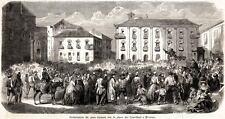 MESSINA:Piazza Crocifieri: Padre Gavazzi.Sicilia.Risorgimento.Stampa Antica.1860