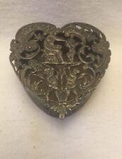 Antique Edwardian Sterling Silver Pierced Top Heart Shaped Box – 1903