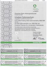 DRESDNER BANK AG Frankfurt a. Main 1986 Optionsschein a. 1 Aktie, Os