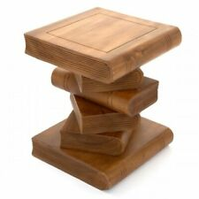 """Stacked Book Side Table 12""""/Lamp Table/Plant Stand/Hand Carved/Solid Wood/Waxed"""