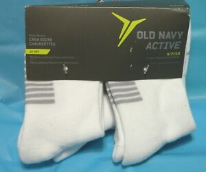 Old Navy Active Boys (6) Crew Socks Go Dry Moisture Wicking White Size Small NWT
