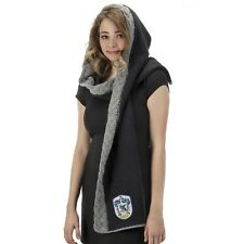 Womens Harry Potter Ravenclaw Blue Knit Hooded Scarf Luna Lovegood Costume Gift