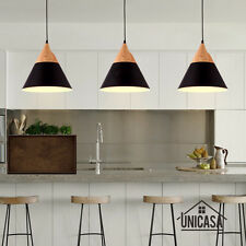 Black Chandelier Kitchen Modern Ceiling Light Wood Pendant Lighting Bar LED Lamp