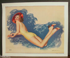 Billy Devorss Bathing Beauty Yellow Bathing Suit Red Hat Reclining Legs Up