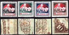 LATVIA 1920 Red Cross. Mi. 51z-54z. On 10 Mark Banknotes. Brown & Green Back, MH