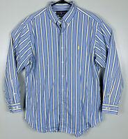 Polo Ralph Lauren Long Sleeve Striped Oxford Shirt Mens L 16.5 32/33 Yellow Blue